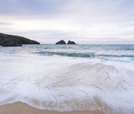 Holywell bay beach Royalty Free Stock Photo