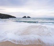 Holywell bay beach Royalty Free Stock Photo