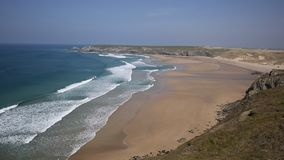 Holywell Bay Cornwall coast England UK near Newquay and Crantock in spring with blue sky stock video footage