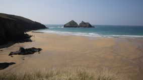 Holywell Bay North Cornwall coast England UK near Newquay and Crantock in spring with blue sky stock footage