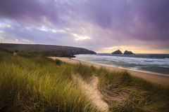 Holywell bay spectacular sunset Stock Photo