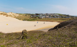 Holywell Bay village Pendale Sands North Cornwall coast England UK near Newquay and Crantock Royalty Free Stock Image