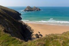 Holywell fjärd norr Cornwall England Förenade kungariket nära Newquay Arkivbilder