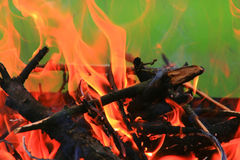 Holz, das auf Feuer brennt Stockbild