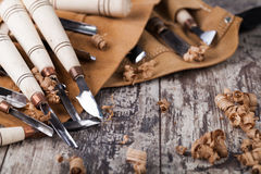Holz, das Hilfsmittel schnitzt Lizenzfreie Stockfotos