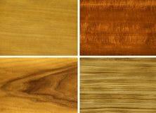 Holz, Furnier-Blatt: anegri, makore, Teakholz, zebrano Lizenzfreies Stockfoto
