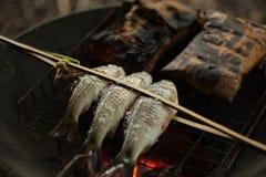 Holz gegrillte Fische Stockfotografie
