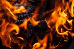 Holz im Feuer Stockfoto