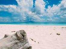 Holz im Sand mit Meer und aky Lizenzfreies Stockbild