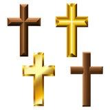 Holz- und Goldkreuzsatz Lizenzfreies Stockbild