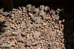 Holz- und Steinbeschaffenheit Ein Hintergrund der Barke und des roten Steins stockfoto