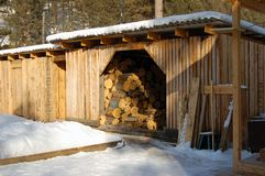 Holz verschüttet im Landschaftswirtschaftsgebäude Lizenzfreies Stockbild