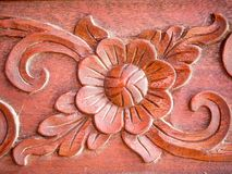 Holz von Blumen Carvings horizontal Lizenzfreies Stockfoto