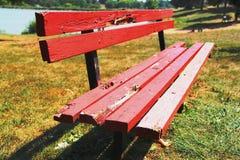 Holzbank auf Gras Stockbilder