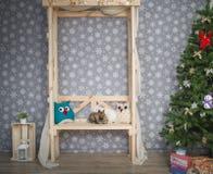 Holzbank in der neues Jahr ` s Dekoration Stockbilder