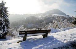 Holzbank am Winter mit breiten Panoramablicken lizenzfreie stockfotografie