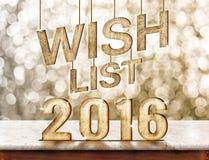 Holzbeschaffenheit der Wunschliste 2016 auf Marmortabelle mit funkelndem bokeh Stockfoto