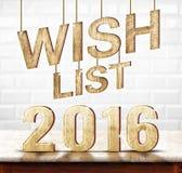 Holzbeschaffenheit der Wunschliste 2016 auf Marmortabelle mit weißem keramischem Ti Lizenzfreie Stockfotografie