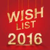 Holzbeschaffenheit der Wunschliste 2016 am roten Studioraumhintergrund, holida Lizenzfreies Stockbild
