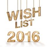 Holzbeschaffenheit der Wunschliste 2016 am weißen Hintergrund, Feiertagskonzept Lizenzfreie Stockfotografie