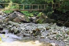 Holzbrücke über dem Fluss, den Felsen und der Schlucht in den Bergen Lizenzfreie Stockfotografie