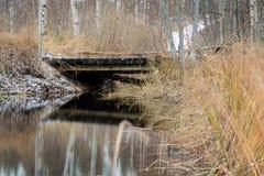 Holzbrücke über einem Abzugsgraben im Herbst Stockfoto