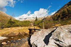 Holzbrücke - Adamello Trento Italien Stockfotos