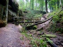 Holzbrücke auf dem Wanderweg in Berdorf, Luxemburg Stockfotos