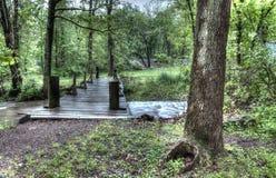 Holzbrücke auf einem Nebenfluss Lizenzfreie Stockfotografie