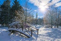 Holzbrücke bedeckt durch frischen Schnee im Winterpark Lizenzfreie Stockbilder