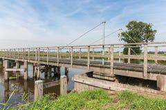 Holzbrücke im niederländischen Nationalpark Lizenzfreie Stockfotos