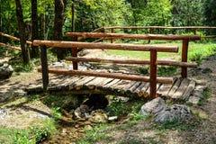 Holzbrücke im Park stockbilder