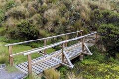 Holzbrücke in Nationalpark Cotopaxis lizenzfreies stockbild