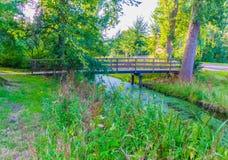 Holzbrücke, zum des Flusses in einer Waldlandschaft vorbei zu kreuzen Lizenzfreie Stockfotografie