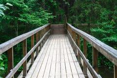 Holzbrücke über Ahja-Fluss nahe Taevaskoja-Markstein Stockfotografie