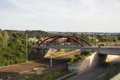 Holzbruecke in Werdau crossing over rail tracks and the Westtras Stock Images