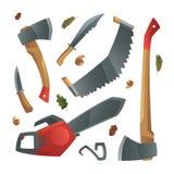 Holzfäller bearbeitet verschiedene Äxte, Messer und Sägen Lizenzfreie Abbildung