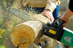 Holzfäller bei der Arbeit Lizenzfreie Stockfotos