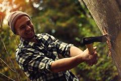 Holzfäller, der einen Baumstamm im Wald hackt Stockfotografie