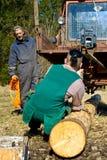 Holzfäller, die Protokolle schleppen lizenzfreie stockfotografie