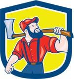 Holzfäller-Holding Axe Shield-Karikatur Lizenzfreie Stockfotografie