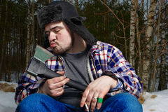 Holzfäller mit Beil Lizenzfreie Stockfotos