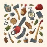 Holzfällersachen- und -arbeitswerkzeuge Lizenzfreie Abbildung