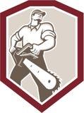 Holzfäller-Baumzüchter Holding Chainsaw Shield Stockfotografie