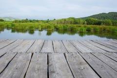Holzfußboden-Perspektive mit Landschaftswaldhintergrund stockbild