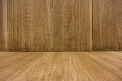 Holzfußboden- und Wandhintergrund Lizenzfreie Stockbilder