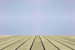 Holzfußboden- und Zementwandhintergrund Stockfotos