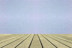 Holzfußboden- und Zementwandhintergrund Stockbild