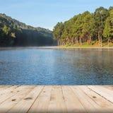 Holzfußbodenperspektive auf dem See und dem Wald Stockfoto