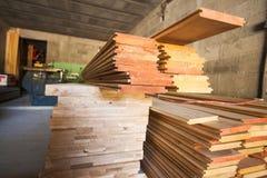 Holzfußbodenplanken Stockfotos